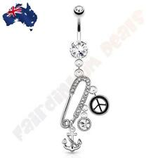 Clear Jewelled Safety Pin Navel Dangle with Anchor, Piece Sign & CZ Charms