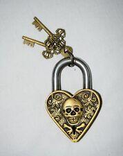 Skull Design Padlock Brass Handmade Victorian Style Heavy Safety Door Lock CA67