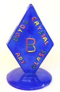 Boyd Art Glass Hand Painted Rainbow Lettering On Blue Logo