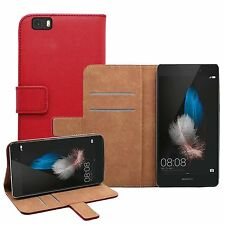 Wallet RED Leather Flip Case Cover Pouch Saver For Huawei P8 Lite (2015)