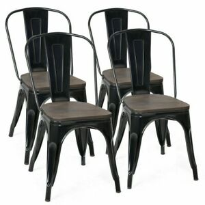 4 Pieces Metal Dining Stools, Set of 4 Stackable Style Metal Wood Dining Chair