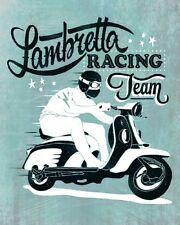 "10"" x 8"" LAMBRETTA RACING TEAM SCOOTER MODS BRIGHTON METAL PLAQUE TIN SIGN N159"