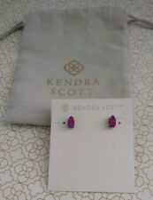 Kendra Scott Harriett Stud Earrings in Purple Fuchsia DRUSY & Gold Tone