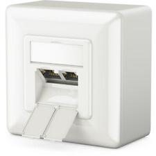 Cat6a Netzwerk Dose Netzwerkdose Weiß / Kombidose [Aufputz + Unterputz] deleyCON