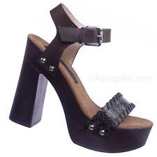 Alda01 Retro Wooden Block Heel Sandal - Lightweight Boho 70s Sculpted Platform