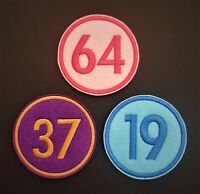 Personalised Number name Embroidered Patch, Badge Standard Round Iron on sew on