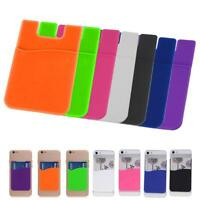 Silicone Mobile Phone Wallet Credit Card Cash Stick Adhesive Holder Case Gift ZH