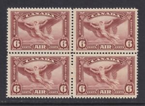 Canada Scott C5 SG 355 XF MNH 1935 5¢ Red Brown Daedalus Airmail Block of 4