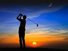 PHOTO COMPOSITION GOLFER SILHOUETTE SUNSET MOON STARS POSTER PRINT BMP10247