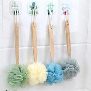 "14.2"" Long Handle Wood Bath Body Brush Scrub Sponge Back Scrubber Exfoliator"