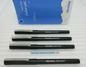 4 x NICEDAY FINELINER FELT TIP PEN 0.5MM BLUE in stock