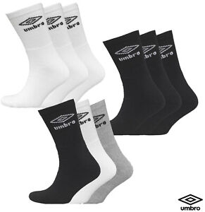 6 Pairs Umbro Mens Official Sport Mid Calf Sports Socks Cotton Rich Adults 6-11