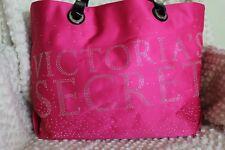 Victoria's Secret  Pink  and Sliver Blinged Logo Large Tote Bag Black dual strap