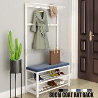 Steel Coat Hat Rack Stand Clothes Hanger Hook Shoes Bench Storage Entryway Shelf