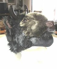 BUFFALO HAT furry VIKING head horns mens womens costume Bison ADULT buffaloes