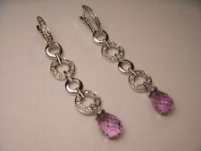 Wonderful 14K White Gold Amethyst Diamond Chandelier Dangle Earrings