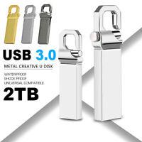 1Pc 2TB Metal USB 3.0 Flash Drive Memory Storage Stick U Disk Swivel Key Thumb