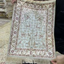 YILONG 1.5'x2' Green Handmade Silk Tapestry Prayer Hand Knotted Area Rug HF065B