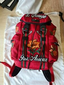 Gucci Par Amour L' Aveugle Backpack 450982 Red Embroidered GG Web RRP £1530