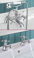 STAFFORD TRADITIONAL CLASSIC BATHROOM BATH SHOWER MIXER AND TWIN BASIN TAPS SET