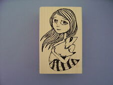 100 PROOF PRESS RUBBER STAMPS GIRL WITH PET RACCOON NEW STAMP