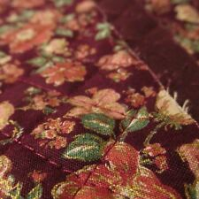 Burgundy wine prequilted cotton fabric reversible floral metallic gold BTHY