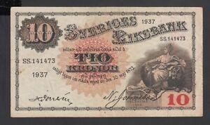 Sweden 10 Kronor 1937  Fine  P. 34,   Banknote, Circulated