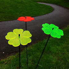 Glow In The Dark Flower Garden Ornament 3 Large Double Blossom Solar Decoration