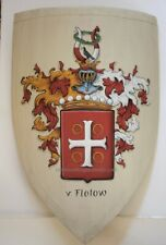 Medieval heater shield, wooden battle shield Family Coat of Arms shield