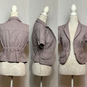 Topshop Fitted Check Open Jacket Size 12 Spring Summer Office Smart Casual