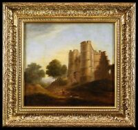 Castle in a Landscape - Mid 19th C. British Antique Oil Painting in Gilt Frame