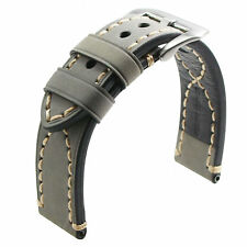Mens Genuine Leather Replacement Watch Band Strap Gray SS Pin Buckle 26mm