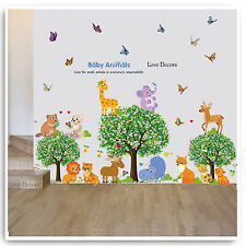 Animal Wall Stickers Jungle Zoo Safari Tree Nursery Baby Kids Room Decal Art
