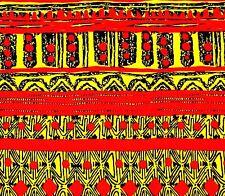 African Fabric 1/2 Yard Cotton Wax Print Orangeish RED YELLOW BLACK Abstract