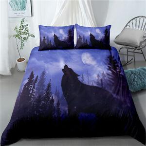 Linen Wolf Moon Doona Quilt Duvet Cover Set Single/Double/Queen/King Bed