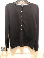 Talbots Women's Black Pima Cotton Cardigan Sweater XL