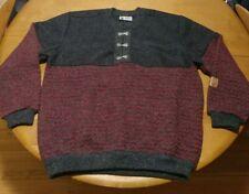 Scandinavian Score Men's XL Ski Sweater Gray Wool Nordic Knit Vintage Pullover