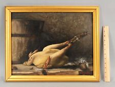 1878 Antique 19thC American Still Life Oil Painting, Plucked Chicken & Bucket