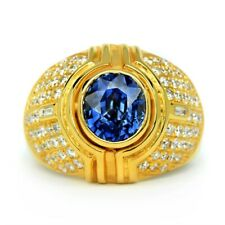 Certified 2.29ct Natural Sapphire Ring 74pcs 0.92ct VS/G DIAMOND 14K Yellow Gold