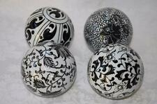 DECORATIVE FLORAL ORBS VASE FILLERS ACCENT BALLS SPHERES - BLACK & WHITE - 4PC