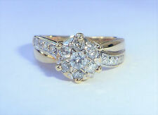 9ct Gold 0.50ct Diamond Daisy Cluster Star Crossover Ring, Size K