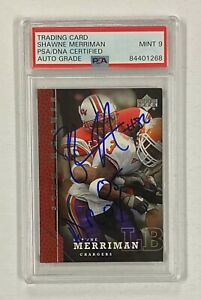 """SHAWNE MERRIMAN Signed Auto 2005 UD RC Rookie Card 256 w/ """"ROY 05"""" PSA/DNA 9"""