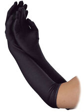 Long Black 1920s Style Flapper Show Girl Charleston Gloves Fancy Dress Accessory