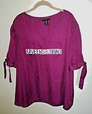 APOSTROPHE Women's Plus Size 24-26W 3X Purple Sheer V top blouse Shirt Short S.