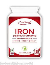 185 Iron Ferrous Fumarate Tablets Vegetarian Minerals & Vitamins 6 Month supply