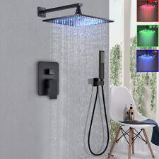 """Matte Black 16"""" Shower Faucet Set Led Rain Shower Head W/Handheld Shower Mixer"""