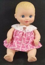 1999 Lauer Toys Water Baby Rubber Doll Blonde Hair Pink Dress Bear