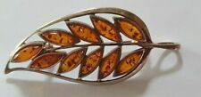 925 Sterling Silver Leaf Shaped Brooch with Amber Leaves 6.6 grams