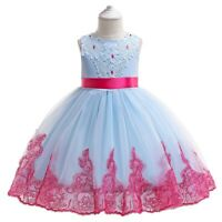 Girl's Bowknot Flower Princess Dresses Prom Gown Kids Lace Dress Xmas Party Gift