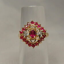 14k Gold Cluster Red Ruby & Diamond 0.79ct Ring Sz. 6